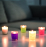 Candles in glass holder