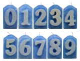 Numbers blue/white glitter