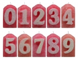 Numbers pink/white glitter