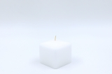 Square candle white 6 x 6 x 6 cm