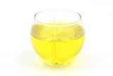 Gelcandle in glass ball 80mm Yellow