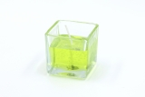 Gelcandle in glass cube 52mm Light green