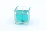 Gelcandle in glass cube 52mm Turqouise
