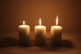 Movie multi wick cand. 120x70m Cream candle with triple wick