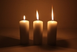Movie multi wick cand.150x60mm Cream candle with triple wick