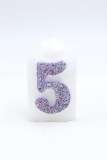 Numbers wht/multicolor glitter