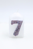 Numbers wht/multicolor glitter 7