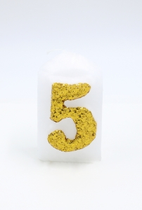 Numbers white/golden glitter