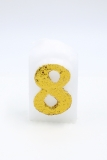 Numbers white/golden glitter 8